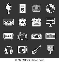 Recording studio items icons set grey