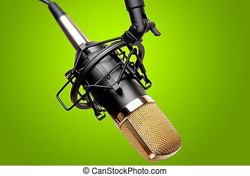 Recording Studio Microphone - Closeup of a condenser...