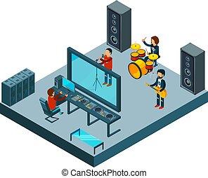 Recording studio. Sound music production instruments dj equipment vector isometric pictures