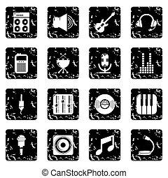 Recording studio symbols icons set grunge