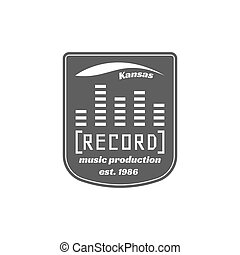 Recording studio vector label, badge, emblem logo with musical instrument. Stock vector illustration isolated on white background