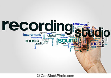 Recording studio word cloud concept on grey background