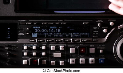 Recording tape on the professional video recorder