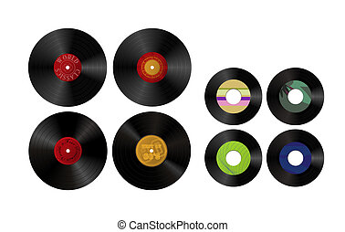 Records on white background