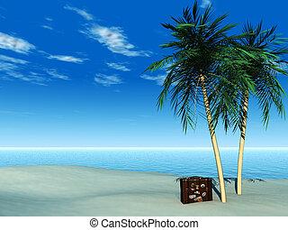 recorrido tropical, playa., maleta