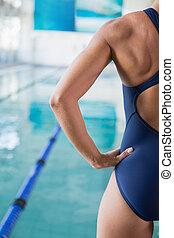 recortado, femininas, nadador, por, piscina, ao ar livre, centro