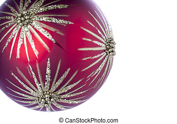 recortado, imagem, de, um, vermelho, natal, bulbo, com, estrela, desenho