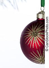recortado, vista, de, um, brilhante, vermelho, natal, bulbo