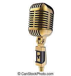 recorte, aislado, retro, trayectoria, blanco, microphone., ...