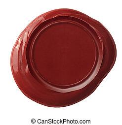 recorte, cera, aislado, sello, included, trayectoria, rojo blanco