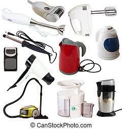 recorte, conjunto, aislado, appliances., trayectoria, blanco