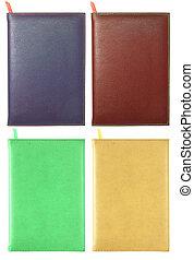 Recorte, Conjunto, cuero, aislado, cuaderno, Trayectoria, blanco