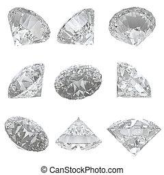 Recorte, Conjunto,  -, Plano de fondo, diamantes,  9, Trayectoria, blanco