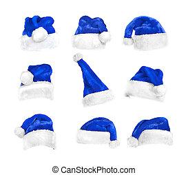 Recorte, Conjunto, sombreros, aislado, Santa, Trayectoria, blanco