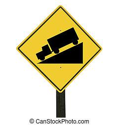 recorte, cuesta abajo, signo amarillo, path., aislado