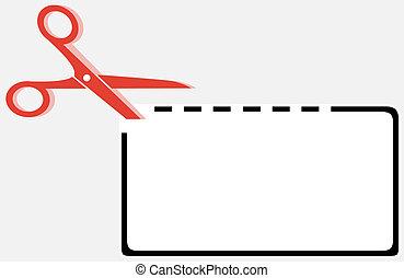 recorte, cupão, retângulo, forma, com, tesouras