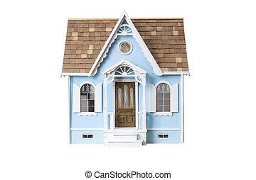 recorte, de madera, dollhouse, aislado, mirar, realista, ...