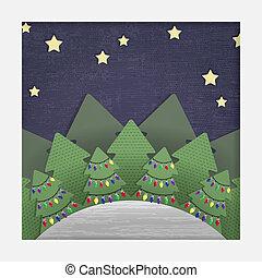 recorte de papel, navidad, bosque