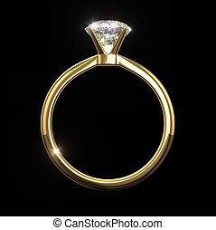 Recorte, diamante,  -, aislado, negro, Plano de fondo, Trayectoria, anillo