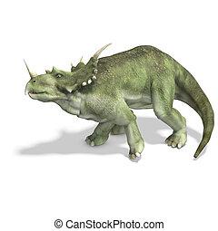 recorte, dinosaurio, encima, interpretación, styracosaurus.,...