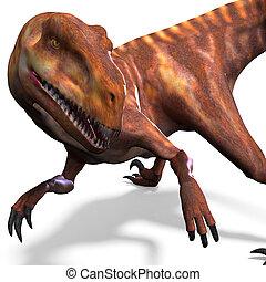 recorte, dinosaurio, encima, interpretación, trayectoria, deinonychus., sombra, blanco, 3d