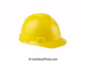 recorte, duro, amarillo, construcción, trayectoria, sombrero