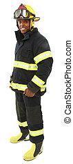 recorte, fuego, uniforme, fighter's, medio, negro, atractivo, viejo, path., hombre