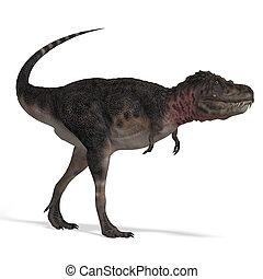 recorte, interpretación, encima, tarbosaurus., dinosaurio,...