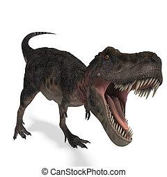 recorte, interpretación, encima, tarbosaurus., dinosaurio, trayectoria, sombra, blanco, 3d