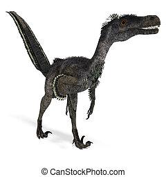 recorte, interpretación, encima, velociraptor., dinosaurio,...