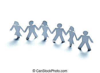 recorte, papel, conexión, comunidad, gente