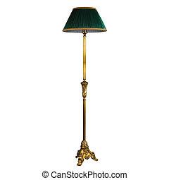 recorte, piso, vendimia, aislado, lámpara, estante,...