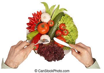 recorte, sano, -, mahlzeit, trayectoria, comida