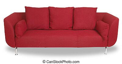 recorte, sofá, aislado, cómodo, trayectoria, blanco, sofá, rojo