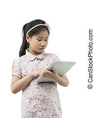 recorte, tableta, computadora, asiático, trayectoria, niña, blanco