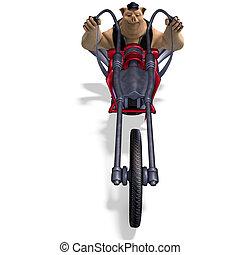 recorte, toon, grande, encima, biker., cerdo, interpretación, animal, trayectoria, sombra, blanco, 3d