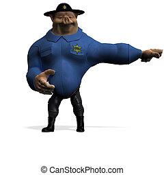 recorte, toon, grande, encima, policeman., cerdo, interpretación, animal, trayectoria, sombra, blanco, 3d