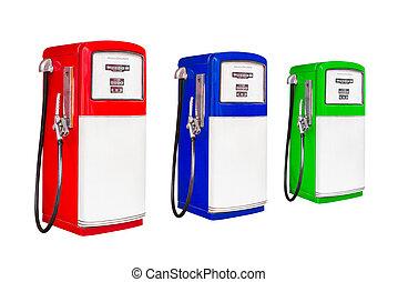 recorte, vendimia, gasolina, aislado, bomba combustible,...
