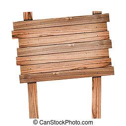 recorte, viejo, aislado, señal, madera, trayectoria