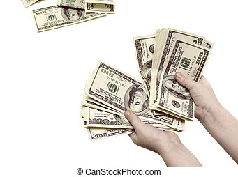 Recounting hundred dollar bills in the hands of a child on a white isolated background