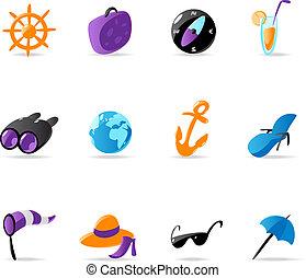recours, clair, icônes voyage