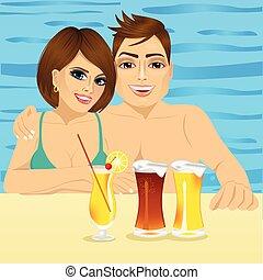 recours, couple, hôtel, sourire, piscine