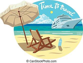 recours, croisière bateau, plage, océan
