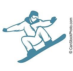 recours, emblèmes, ski, logo, étiquettes, insignes
