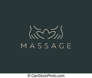 recours, mains, masage, salon beauté, logo, créatif, vecteur...