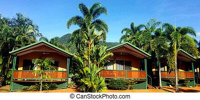 recours, pavillons, queensland, australie, cairns