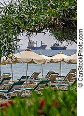 recours, plage, fret, bateaux
