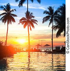recours, plage, tropics., coucher soleil, luxe