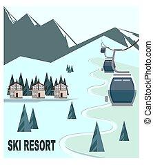 recours, ski, crêtes, montagne neige-couverte, chalet