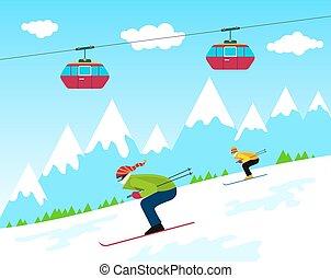 recours, ski, hiver